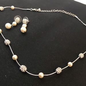 Pearl and Hearts on Fire Necklace & Earrings set